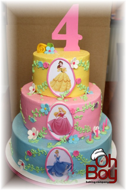 Pastel Three Layer Disney Princess Birthday Cake Disney Every Day