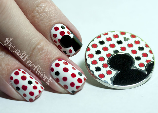 Red White and Black Polka Dot Mickey Mouse Manicure