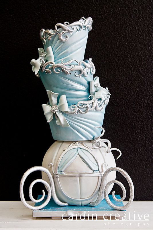 Topsy Turvey Cinderella Carriage disney Wedding Cake