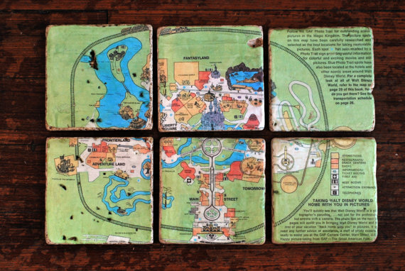 Vintage Walt Disney World Magic Kingdom Map Italian Marble Coasters