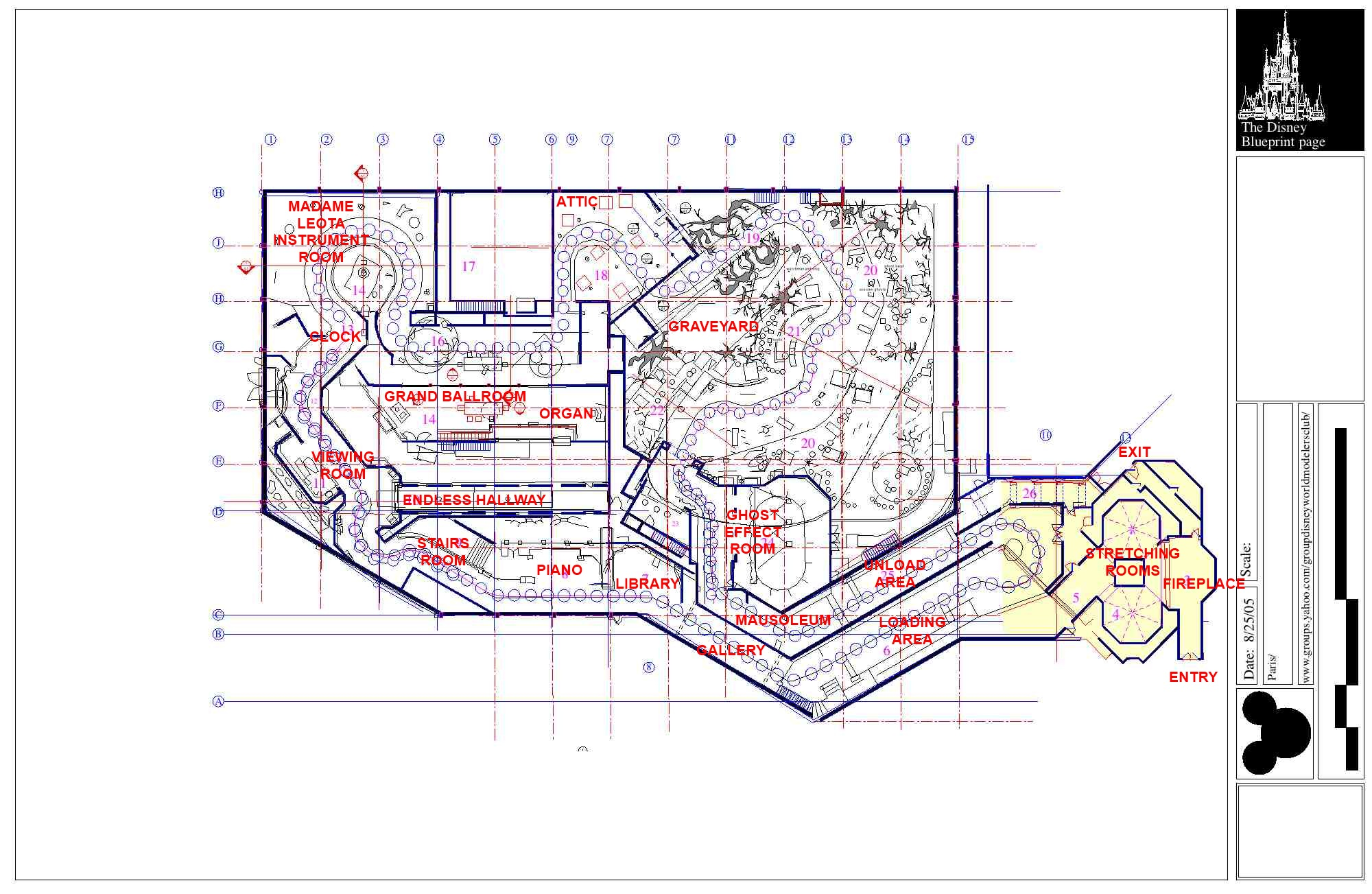 Walt Disney World Haunted Mansion Blueprints with Detailed Ride ...