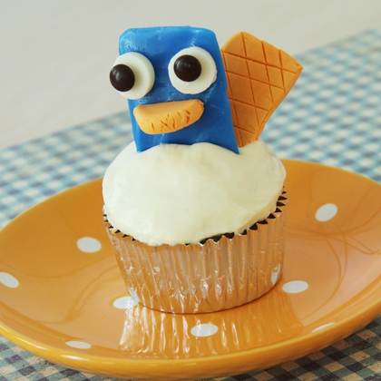 phineas and ferb's perry the platypus cupcake