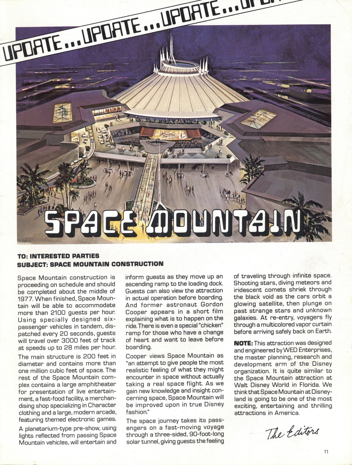 1970's Disneyland Space Mountain Construction Advertisement