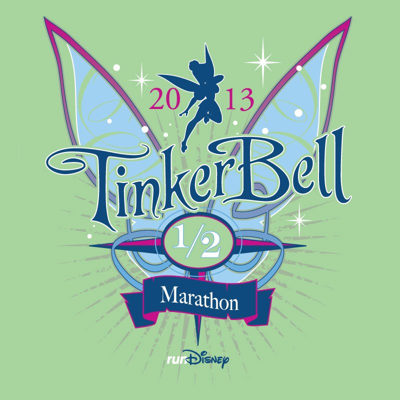 Official runDisney 2013 Tinker Bell Half Marathon T Shirt Design