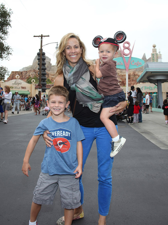 Sheryl Crow Takes Sons Levi and Wyatt to Cars Land at Disney California Adventure