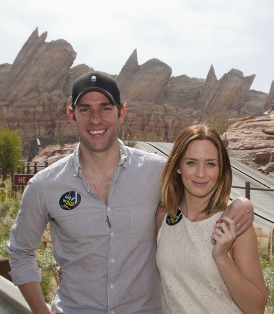 Emily Blunt and John Krasinski Visit Cars Land at Disney California Adventure Park
