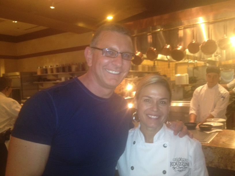 Chef Robert Irvine and Gail Kim Hanging with Cat Cora at Kouzzina in Walt Disney World