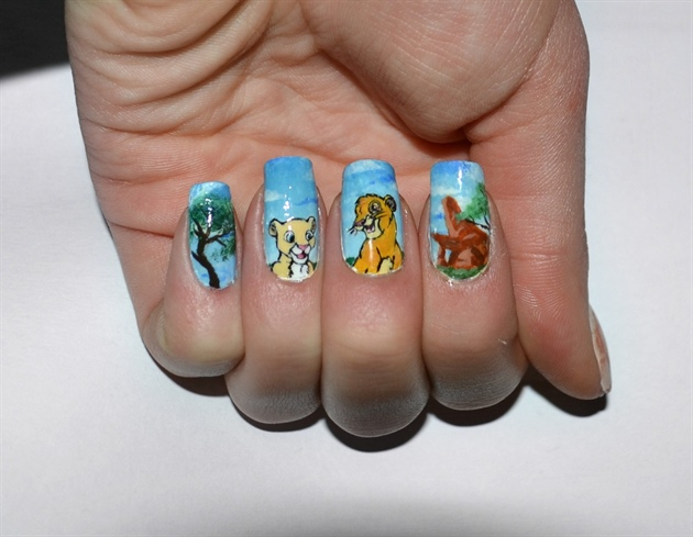 The Lion King Disney Nail Art Manicure