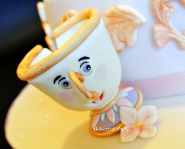 Three Layer Disney Princess Cake Beauty and the Beast Chip