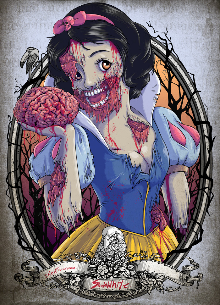 Disney Princess Zombie Apocalypse Artwork You Won't See in a Disney Park
