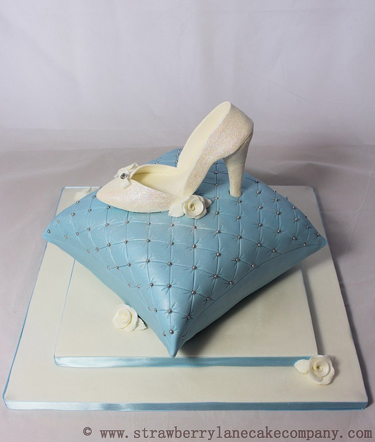 Cinderella Slipper on a Pillow Cake