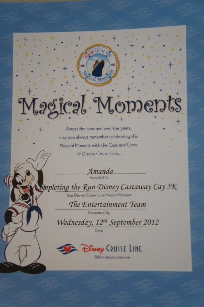 Disney Cruise Lines Awards Certificates Instead of Medals Now for the Castaway Cay 5K