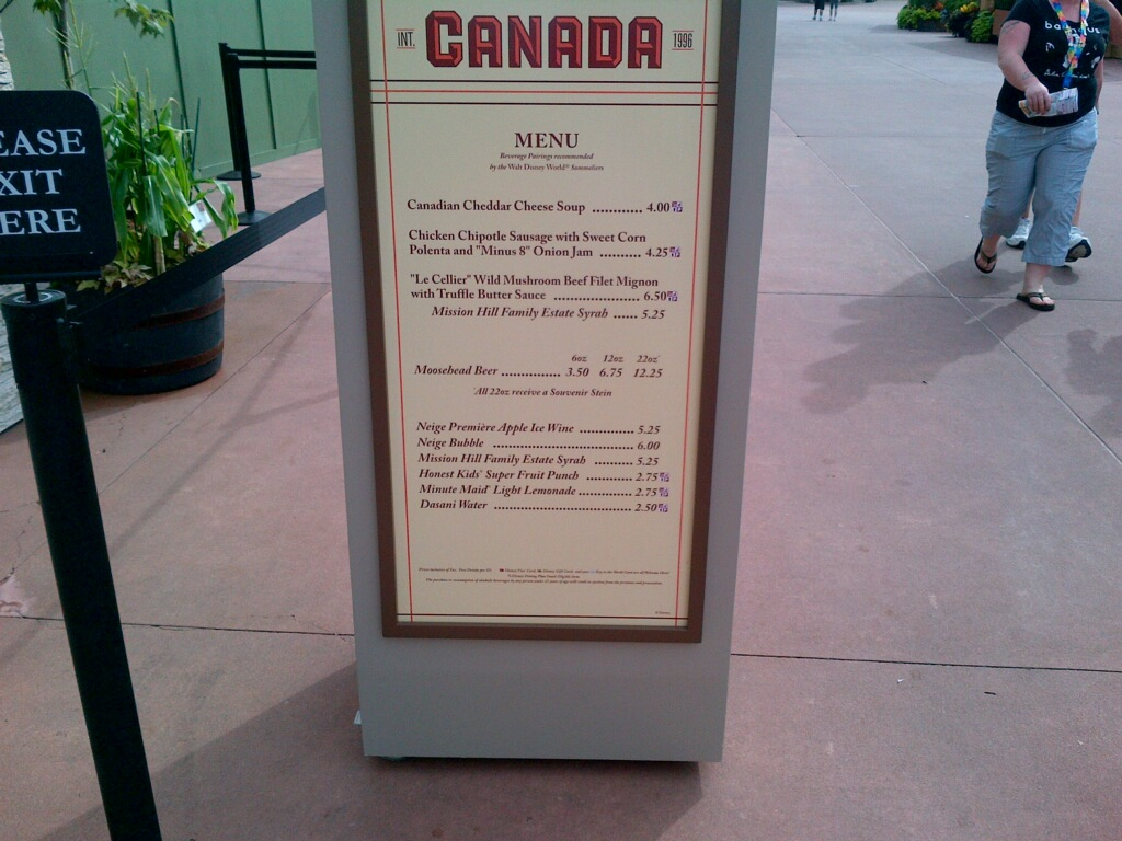 Canada Menu 2012 epcot international food and wine festival