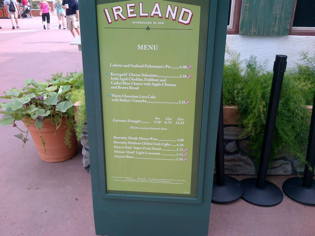 Ireland Menu 2012 epcot international food and wine festival