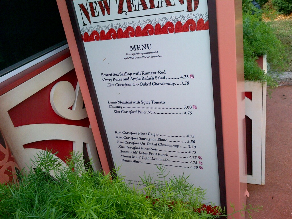 New Zealand Menu 2012 Epcot International Food and Wine Festival