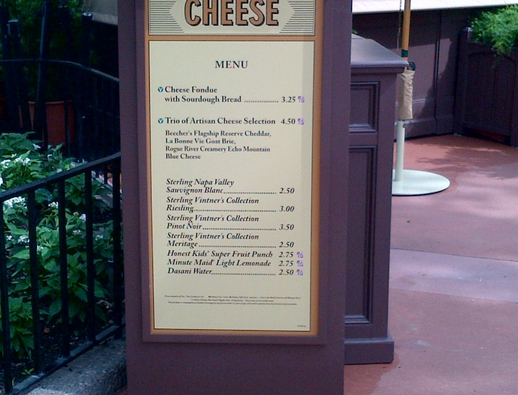 Cheese Menu 2012 Epcot International food and wine festival