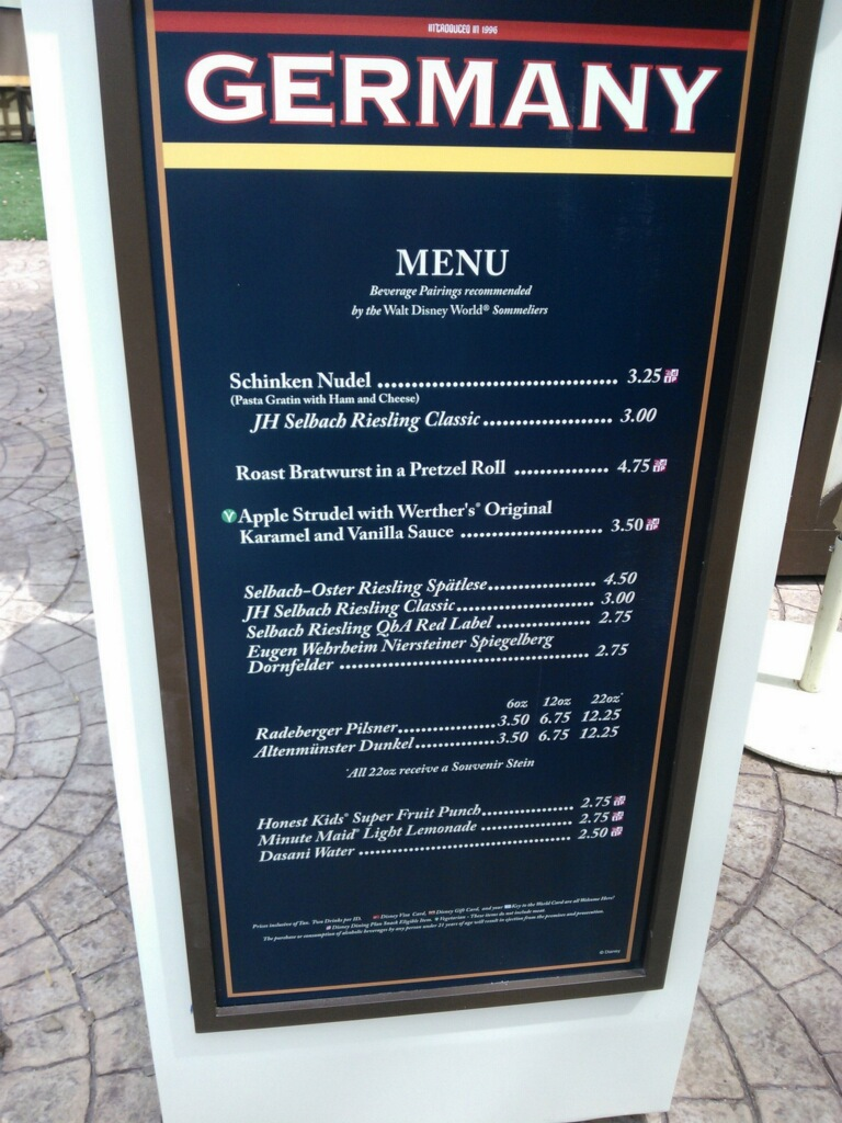 Germany menu 2012 epcot international food and wine festival prices