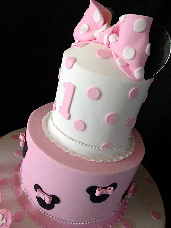 Remarkable Pink Minnie Mouse First Birthday Cake Disney Every Day Personalised Birthday Cards Veneteletsinfo