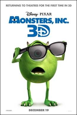 Disney Pixar Monsters Inc 3D Movie Poster