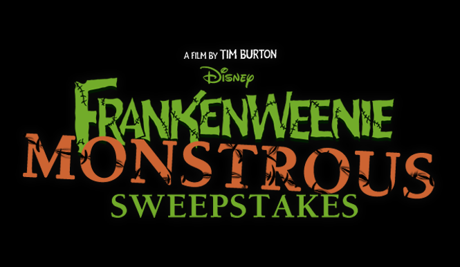 disney FRANKENWEENIE MONSTROUS SWEEPSTAKES