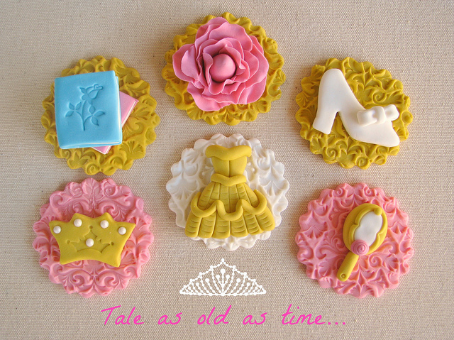 Embossed Disney Beauty and the Beast Cupcake Toppers
