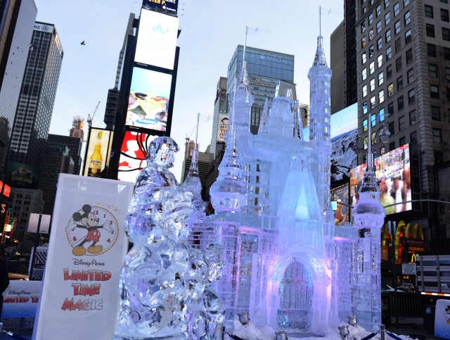 Limited Time Magic Cinderella Castle Ice Sculpture Times square new york