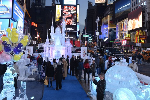 Limited Time Magic Ice Sculpture Times square new york Disney