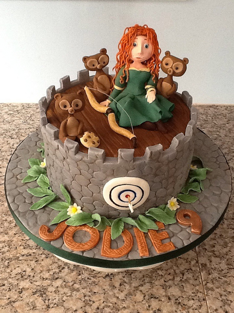 Princess Merida Disney Brave Cake with Bears