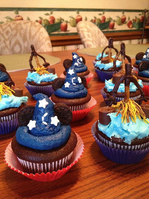 "Disney ""Fantasia"" Sorcerer Hat and Brooms Cupcakes"