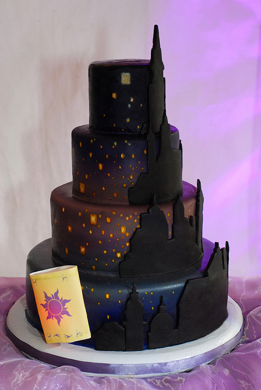 Disney Tangled Lantern Wedding Cake