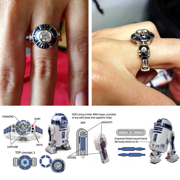 r2 d2 custom star wars engagement ring disney weddings and honeymoons - Disney Inspired Wedding Rings
