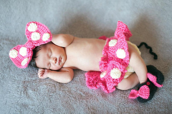 Crochet Disney Newborn Baby Minnie Mouse Outfit