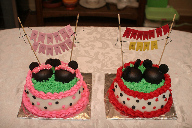 Cool His And Hers Mickey And Minnie Birthday Cakes Disney Every Day Funny Birthday Cards Online Overcheapnameinfo