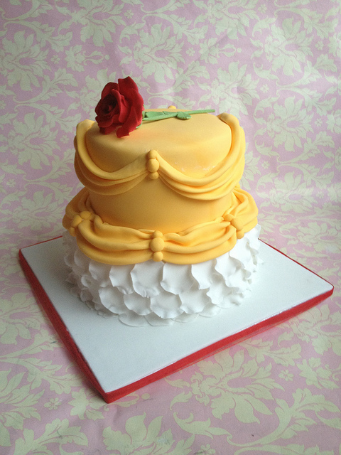 """Beauty and the Beast"" Belle's Gown Disney Cake"