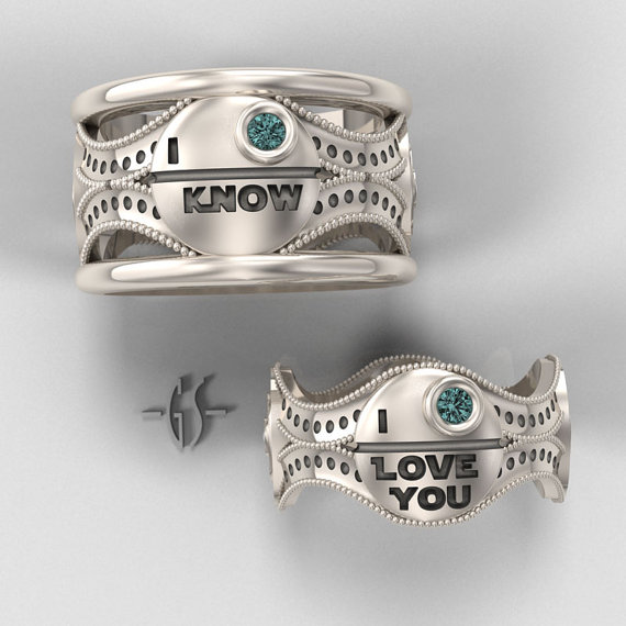 Princess Leia and Han Solo His and Hers Star Wars Wedding Rings