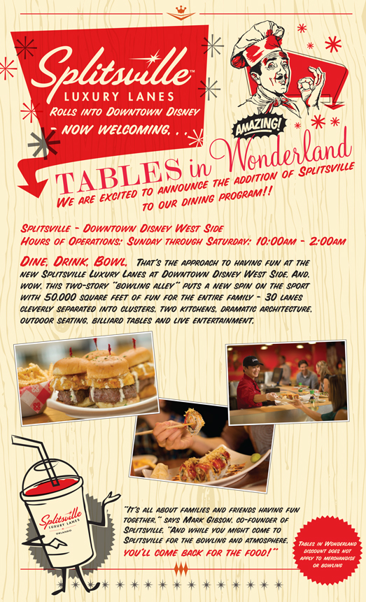 You Can Now Use Your Tables in Wonderland Card at Splitsville Luxury Lanes in Downtown Disney