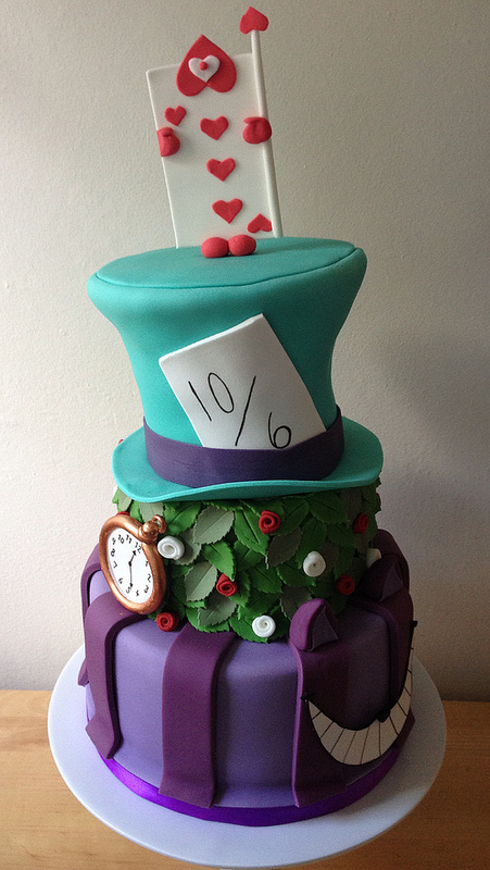 Alice in Wonderland Mad Hatter Wedding Cake