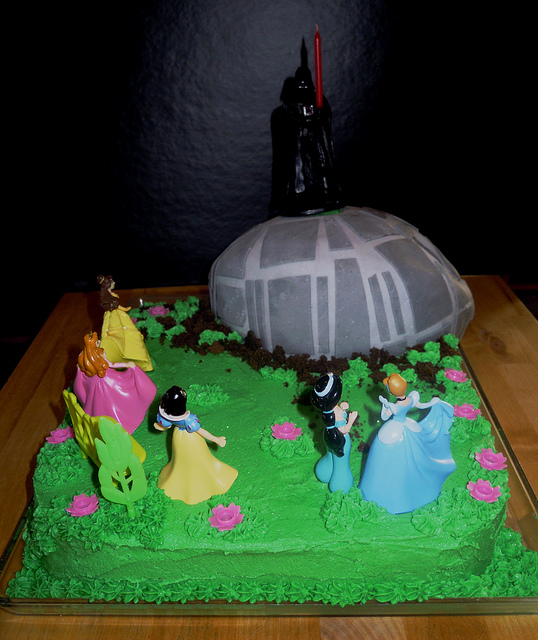 Death Star Crashes Disney Princess Cake