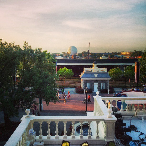 Spaceship Earth Viewed from the Roof of the American Adventure in Epcot