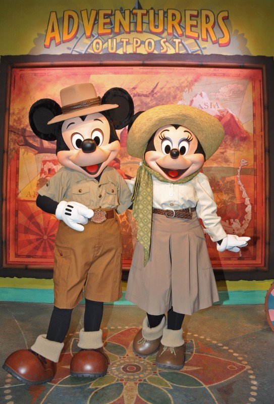 Mickey and Minnie Mouse Welcome Guests to Adventurers Outpost