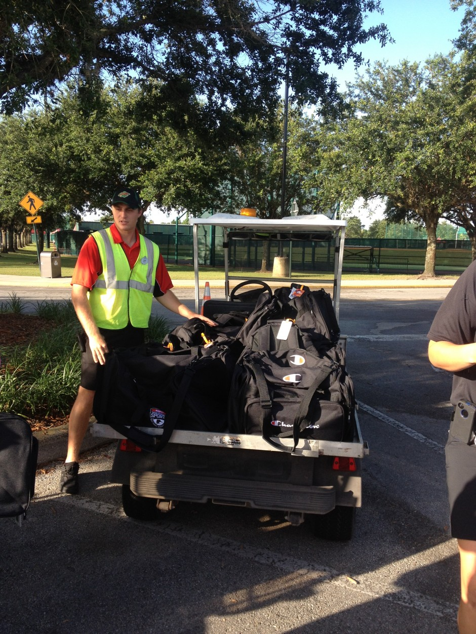 Disney ESPN Wide World of Sports parking lot bag drop