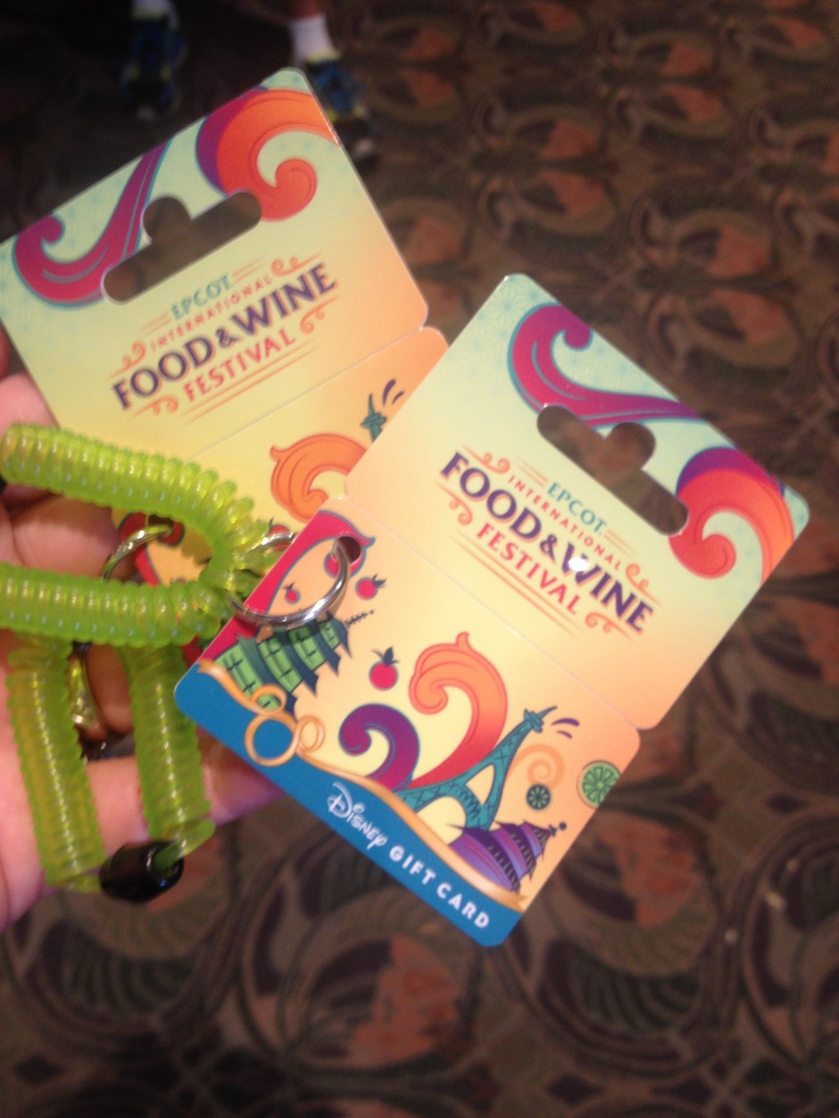 2013 Epcot International Food and Wine Festival gift cards wrist