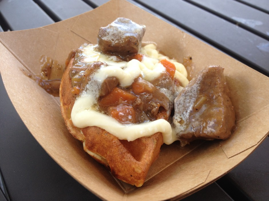 2013 Epcot International Food and Wine Festival belgium potato and leek waffle with braised beef