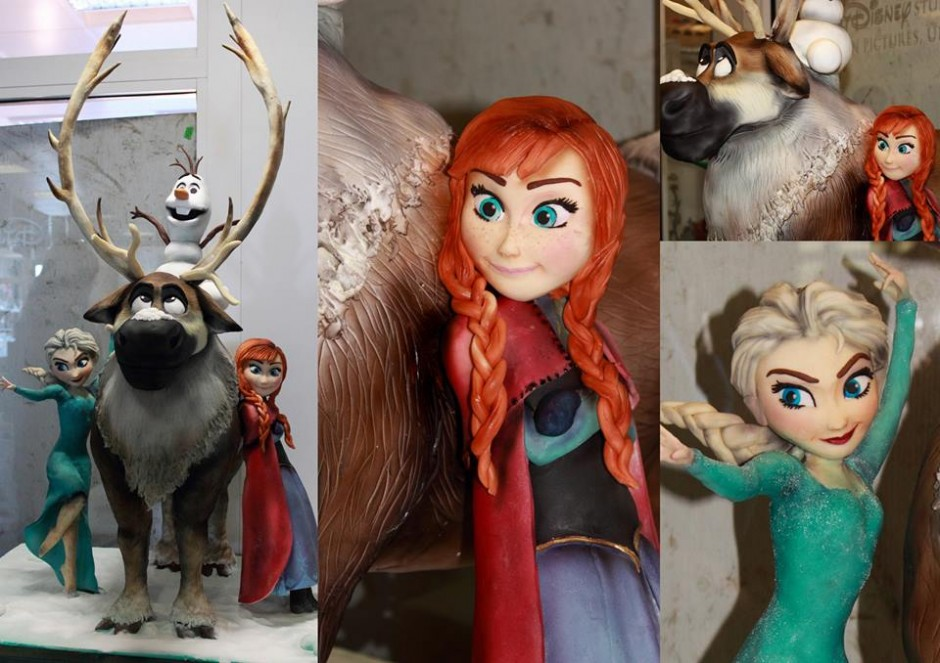 "Four Foot Sculpted Disney ""Frozen"" Cake Featuring Elsa, Anna, Olaf & Sven"