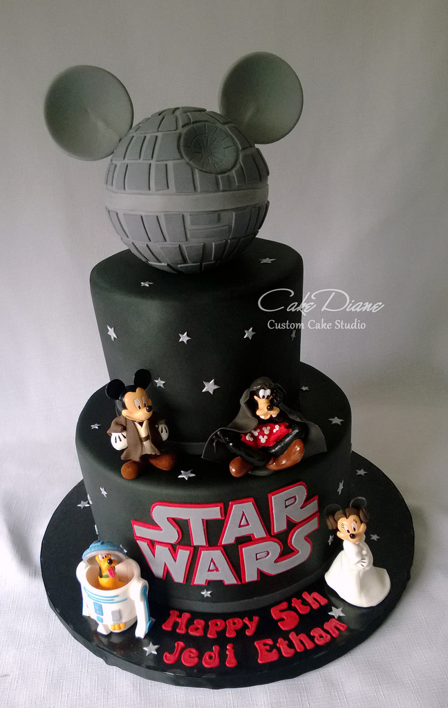 Wondrous Disney Star Wars Mickey Death Star Birthday Cake Disney Every Day Personalised Birthday Cards Paralily Jamesorg
