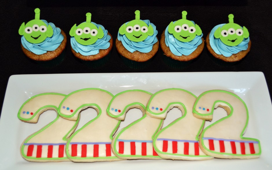 Disney Toy Story Birthday Party Dessert Table cupcakes cookies.