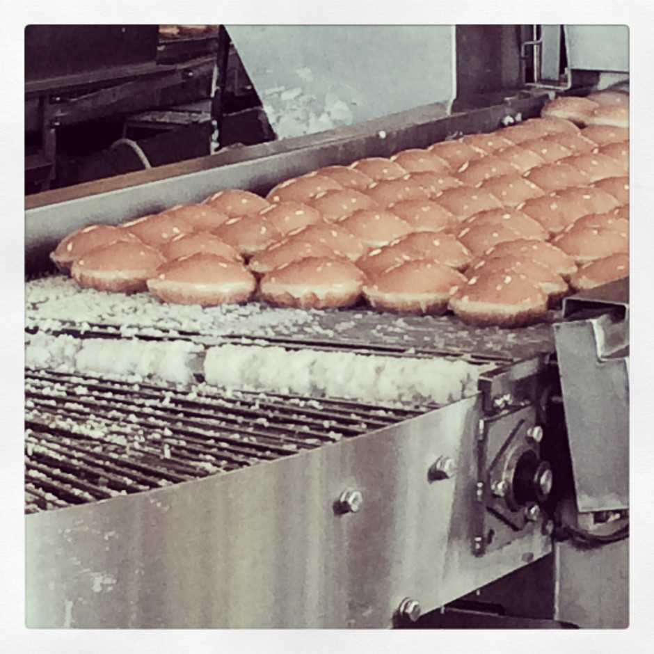 Krispy Kreme Doughnuts hot and fresh off the line