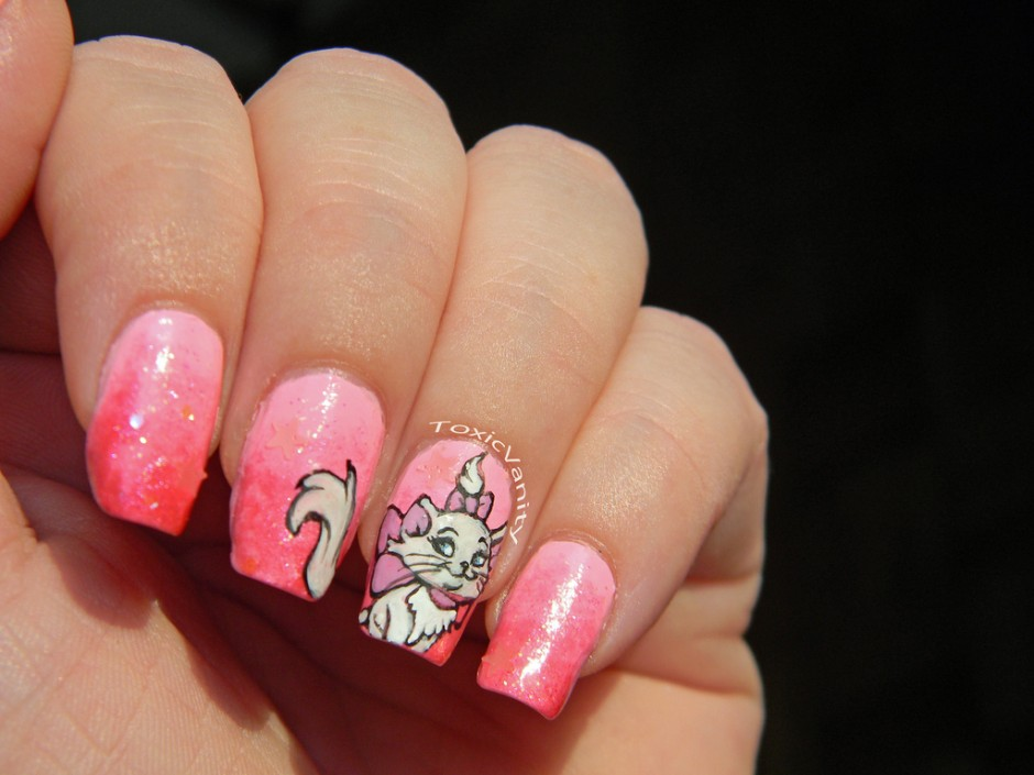 "Pretty Pink ""Aristocats"" Marie Disney Manicure"