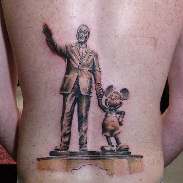 Walt and Mickey Partners Statue Disney Tattoo