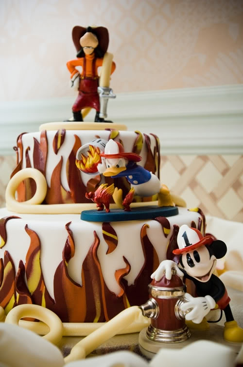 Disney Firefighter Cake Featuring Mickey Donald and Goofy